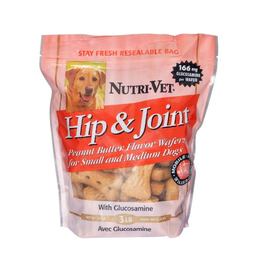 Nutri-Vet Hip and Joint Level 1 Peanut Butter Wafers for Small and Medium Dogs, 3-Pound
