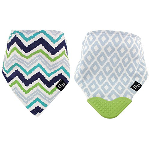 Hudson Baby Bandana Bib with Teether, Blue/Green Chevron, 2 Count