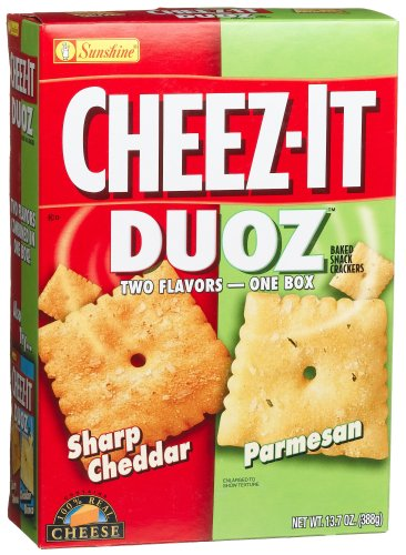 Cheez-It Baked Snack Crackers, Duoz, Sharp Cheddar & Parmesan, 13.7-Ounce Boxes (Pack of 4)