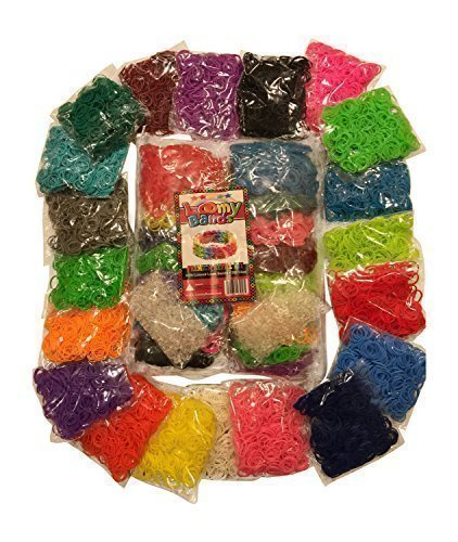 MASSIVE 8000pc Premium Loom Bands Refill Kit 20 Beautiful Rainbow Colors & Styles Including Neon Glow in the Dark 500 Clips Included! Fill up your Loom Bands Organizer today!