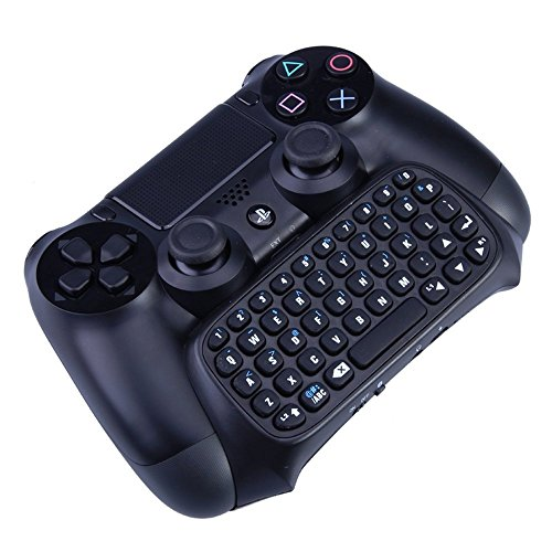 Megadream Bluetooth Mini Wireless Chatpad Message Game Controller Keyboard Chatpad for Sony Playstation PS4 Controller - Black