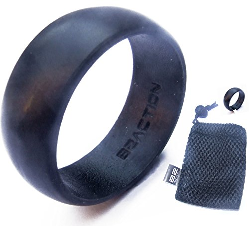 Genuine B2ACTION (TM) Men's Silicone Wedding Ring. Premium Series Rubber Wedding Band With Exclusive Gift Box. Black, Blue, Gray, Camo.