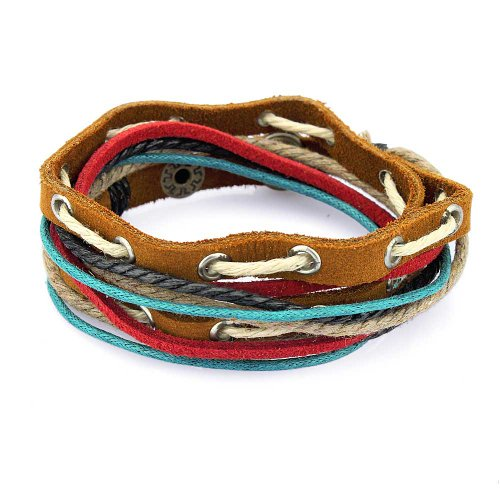 LolliBeads Leather Bracelet Two Strands Brown Surfer Bracelet with Muliple Layer of Colored Hemp Cords, Adjustable Wristband