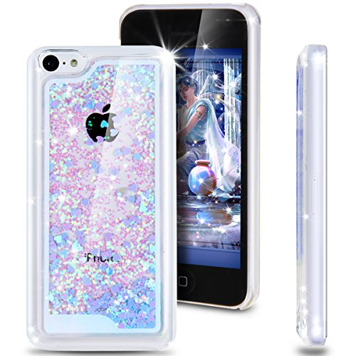 iPhone 5C Case, ikasus(TM) iPhone 5C [Bling Case], [Liquid Case] for iPhone 5C,Case for iPhone 5C,Hard Case for iPhone 5C, Fashion Creative Design Flowing Liquid Floating Luxury Bling Glitter Sparkle Love Heart Hard Case for Apple iPhone 5C (Love:Blue)