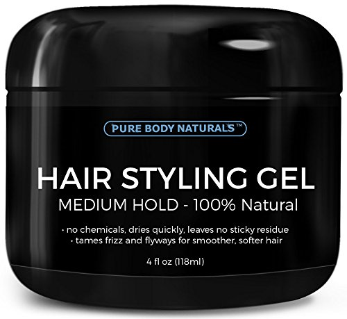 Hair Gel for Men Medium Hold - Large 4oz - Best Styling Gel for Short, Long, Thin and Curly Hair - Great for Modern, Messy, Wet and Dapper Styles - With ALL Natural Ingredients by Pure Body Naturals
