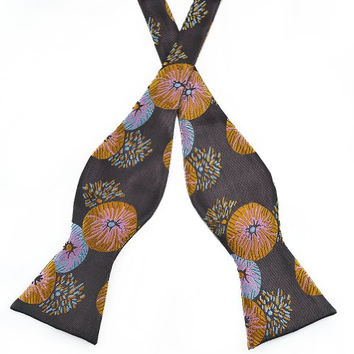 Pensee Mens Self Bow Tie Classic Black & Golden Multi-color Silk Bow Ties