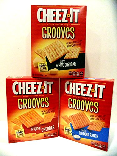Cheez-It, Grooves, VARIETY 3 PACK: 1 Box of ZESTY CHEDDAR RANCH, 1 Box of SHARP WHITE CHEDDAR, 1 Box of ORIGINAL CHEDDAR