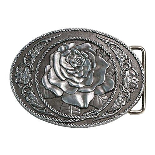 Landisun Handmade Natural Color Classic Western Rose Belt Buckle