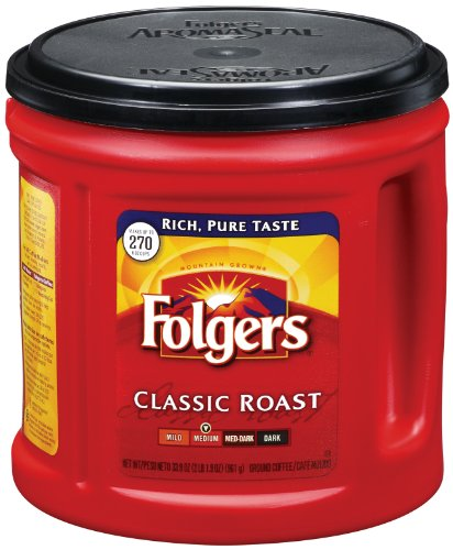 Folgers Classic Roast Coffee, 33.9 Ounce, (Pack of 6)