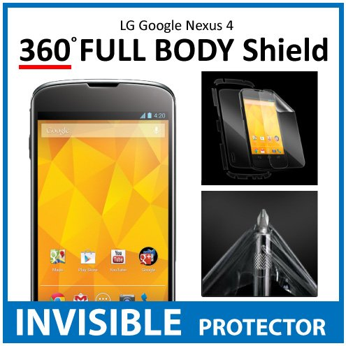 LG Google Nexus 4 Full Body INVISIBLE Screen Protector (Front, Back & Side Shields included) 360 Military Grade