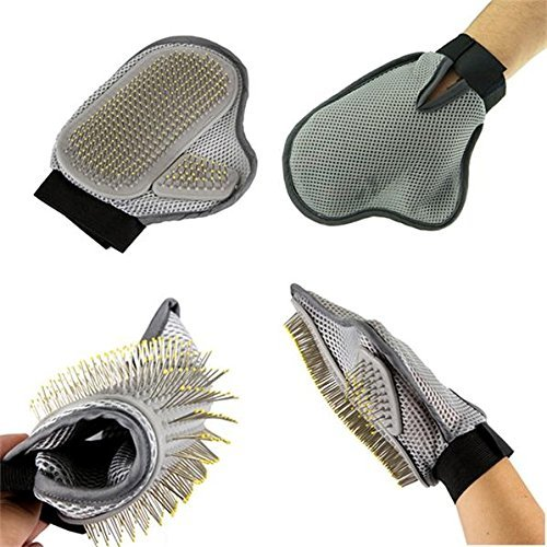 Ecoastal Cat Dog Grooming Brush Glove Mitt - Long and Short Hair with Either Hand - Brushes, Combs, or Cleans Your Pet in Happy and Health (Grey)