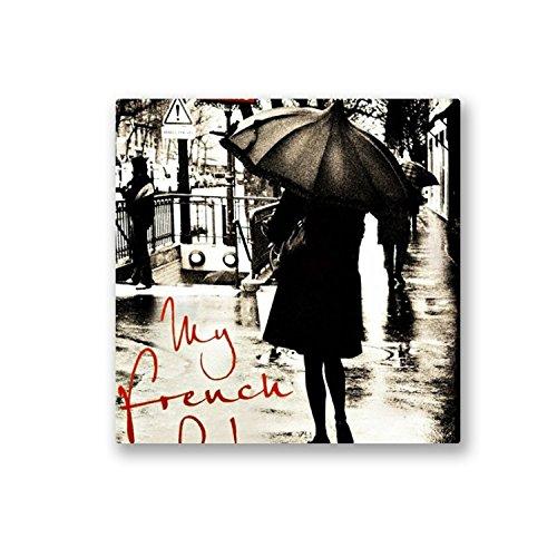 Women Fashion Wall ARt Photographic Print on Canvas - 12''x 12''- Women in Black under a Black Umbrella