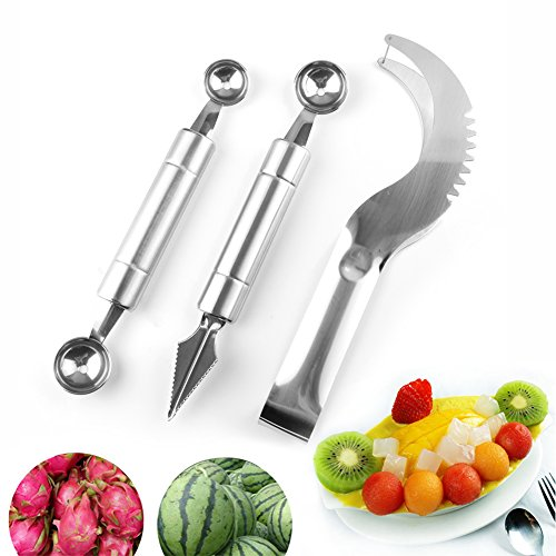 YCDC Watermelon Slicer Cutter Fruit Carving Tool Ice-cream Melon Baller Scoop Ball Spoon 3Pcs Set Fruit Salad Making