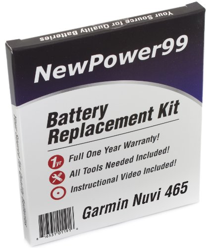 Battery Replacement Kit for Garmin Nuvi 465 with Installation Video, Tools, and Extended Life Battery.
