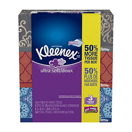 Kleenex Ultra Soft & Strong Facial Tissues, 3 Pack, 120 Count Each