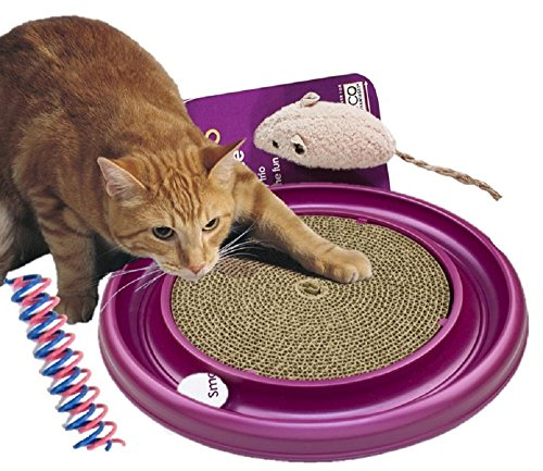 Bergan Turbo Scratcher Cat Toy includes a cute toy mouse and Spot Cat or Kitten Colorful THIN Springs(Turbo Scratcher Set)