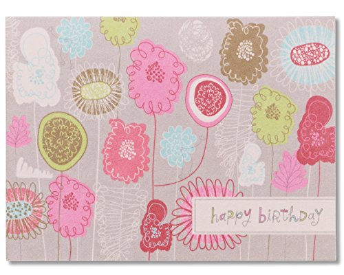 Floral Birthday Card Life is Good with Flocking