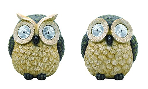 Moonrays 92432 Solar Powered White LED Wise Owls-Styles May Vary