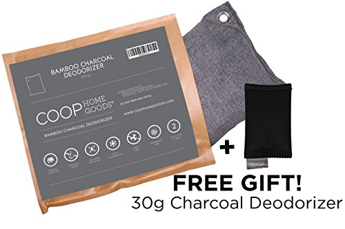 Coop Home Goods - Natural Moso Bamboo Charcoal Deodorizer Air Purifier- 550 grams with FREE 30g sachet - Removes odors, allergens and pollutants.