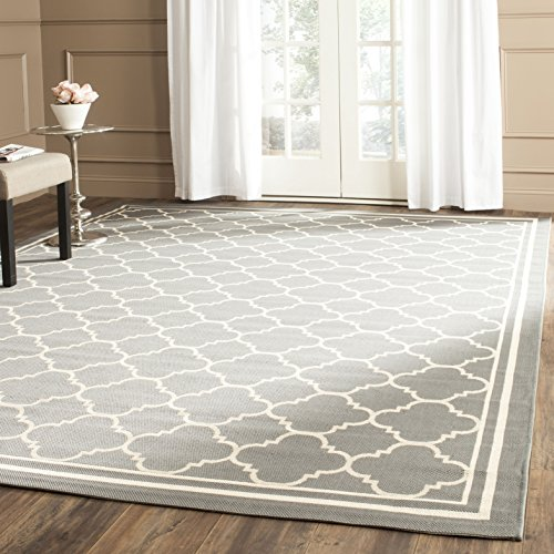 Safavieh Courtyard Collection CY6918-246 Anthracite and Beige Indoor/ Outdoor Area Rug, 6 feet 7 inches by 9 feet 6 inches (6'7 x 9'6)