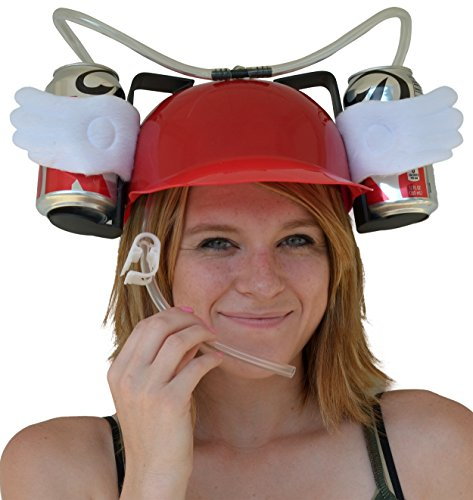 Fairly Odd Novelties Beer Soda Guzzler Helmet Drinking with Angel Wings Party Hat, Red