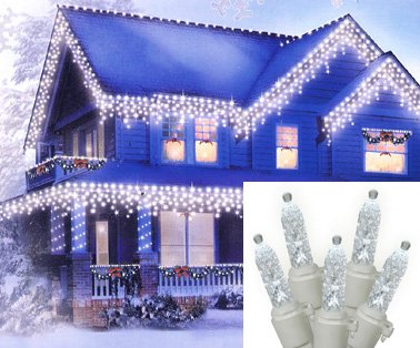 Set of 70 Pure White LED M5 Mini Twinkle Icicle Christmas Lights - White Wire