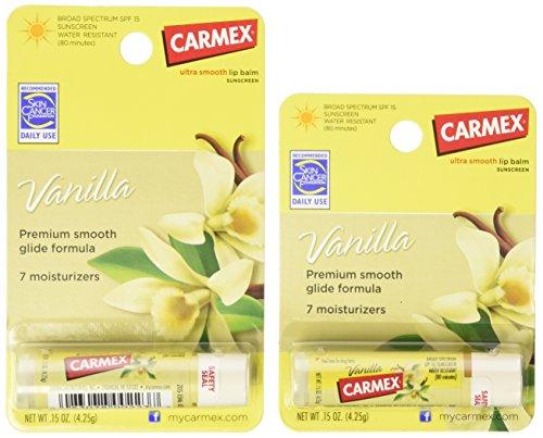 Carmex Ultra Smooth Vanilla Lip Balm Stick SPF 15 0.15 OZ (Pack of 6)
