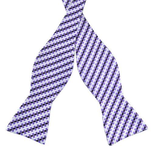 Pensee Mens Self Bow Tie Purple & Dark Purle & White Plaids & Checks Silk Bow Ties