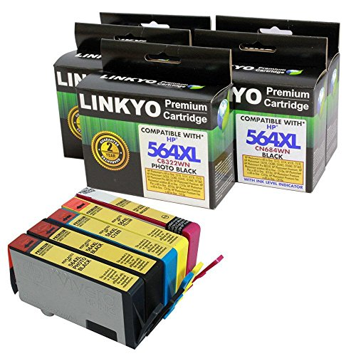 LINKYO Remanufactured High Yield Ink Cartridges Replacement for HP 564XL (Black, Cyan, Magenta, Yellow, Photo Black, 5-Pack)