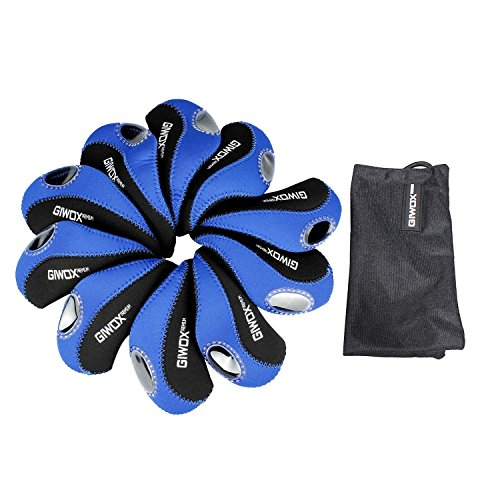 Giwox? Set of 10 Black & Blue Neoprene Golf Club Head Cover Iron Waterproof Golf Head Protector with Plastic Window Display wearable Crushproof transparent Head Cover Protection Case Set