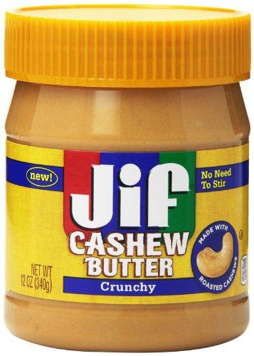 Jif Cashew Butter, Crunchy, 12 Ounce