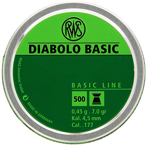 Umarex RWS Diablo 2317389 Basic Line 7.0 Grain Air Gun Pellets, 0.177 Caliber, Green