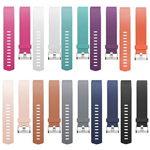Fitbit Charge 2 Replacement Accessory, Ztotop Soft Adjustable Replacement Sport Strap Silicone Band / Metal Band / Charger / Screen Protector