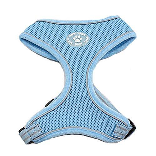 BINGPET BB5009 Reflective Soft Mesh Dog Harness Pet Walking Vest Puppy Padded harnesses Adjustable , Blue Extra Large