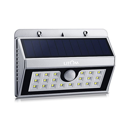 Litom 20 Big LED Solar Sensor Powered Wall Lights Weatherproof for Outdoor(Silver)