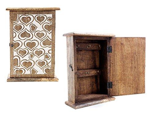 Store Indya Wooden Key Cabinet Rack Box Holder Organizer Handmade with Heart Shaped Motifs