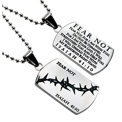 Christian Dog Tag Isaiah 41:10 FEAR NOT, Stainless Steel Crown of Thorns with Ball Chain