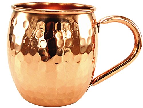 Barrel Hammered Moscow Mule Mug - 16 Oz - 100% Pure Solid Copper Mugs - Handcrafted with No Inner Linings