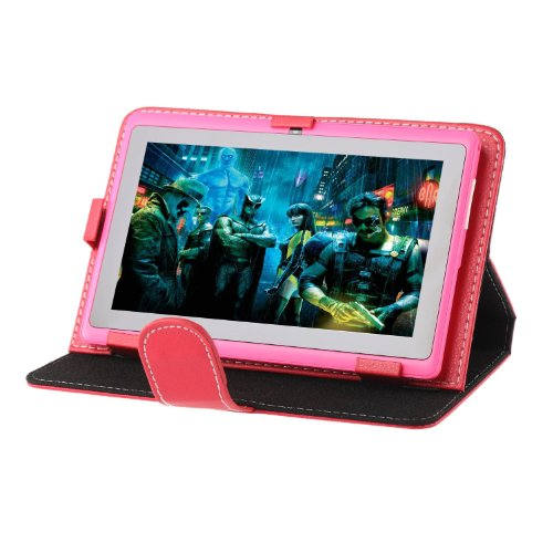 iRulu Folio Artificial Leather Case Cover for 7 Inch 16:9 Android Tablet PC, Red