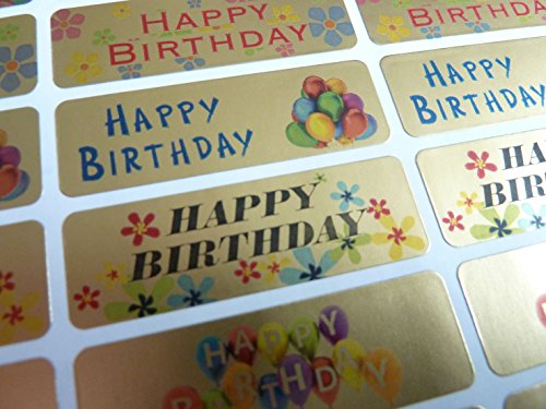 Happy Birthday Greeting Stickers, Gold Self-Stick Labels for Cards, Envelopes, Craft, Decoration