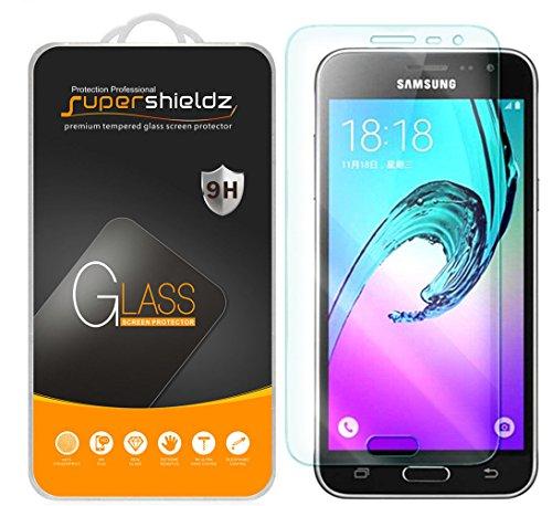[2-Pack] Samsung Galaxy J3 (2016) Tempered Glass Screen Protector, Supershieldz Anti-Scratch, Anti-Fingerprint, Bubble Free [