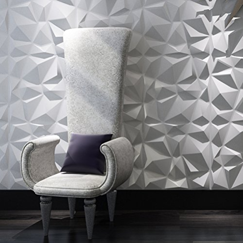 Art3d Decorative 3D Wall Panels Diamond Design Pack of 12 Tiles 32 Sq Ft (Plant Fiber)