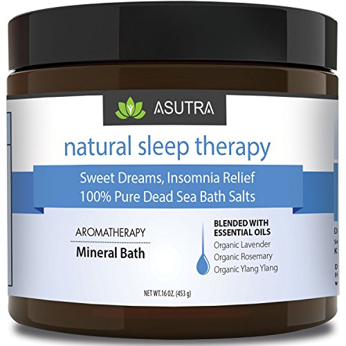 NATURAL SLEEP THERAPY - 100% Pure Dead Sea Bath Salts / Sweet Dreams, Insomnia Relief / Rich In Healing Minerals / Aromatherapy / Organic Essential Oils of Lavender, Rosemary, Ylang Ylang - 16oz