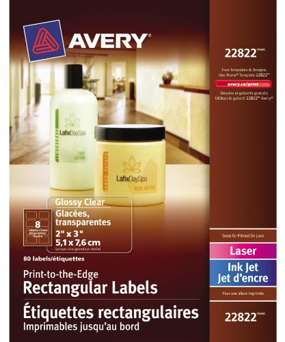 Avery Print-to-the-Edge Rectangular Labels for Laser and Inkjet Printers,  2 x 3, Glossy Clear, Rectangle, 80 Labels, Permanent (22822)