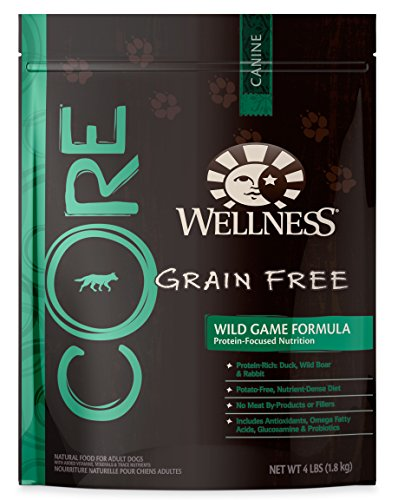 Wellness CORE Grain Free Wild Game Duck, Turkey, Boar & Rabbit Natural Dry Dog Food, 4-Pound Bag
