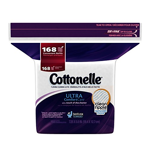 Cottonelle Ultra Comfort Care Flushable Cleansing Cloths Refill, 168 Count (Packaging may vary)