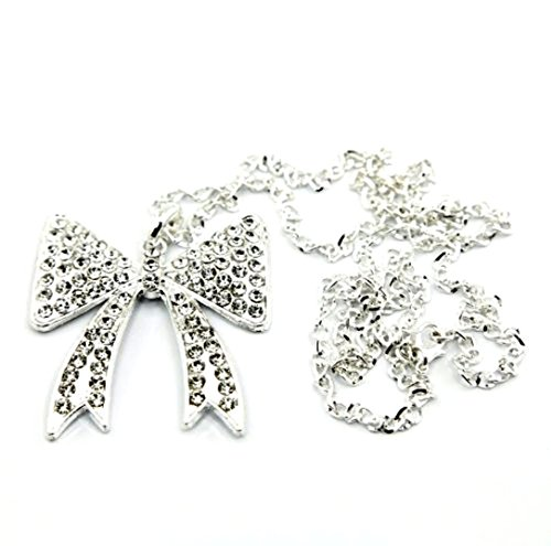 Bling Iced Out Crystal Bow Tie Ribbon Knot Large Pendant Silver Mood Necklace Gift for Teen Girls Women