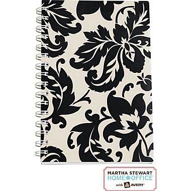 Martha Stewart Home OfficeTM with AveryTM Damask Notebook, Black, 5-1/2 X 8-1/2