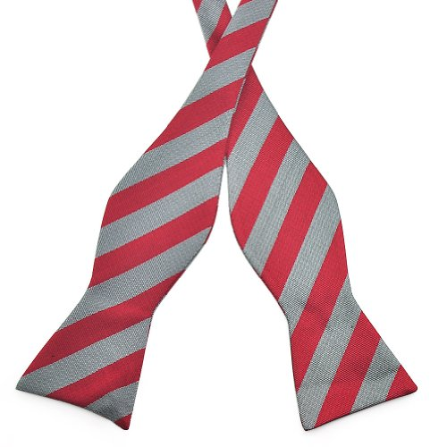PenSee Mens Self Bow Tie Grey & Red Stripe Jacquard Woven Silk Bow Ties
