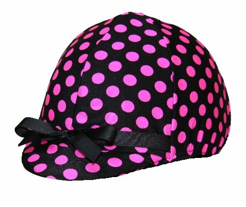 Equestrian Riding Helmet Cover - Hot Pink and Black Polka Dots